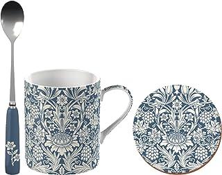 V&A 威廉·莫里斯向日葵印花精美中国马克杯套装带杯垫和茶匙,蓝色和白色,3 件