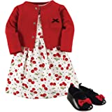 Hudson Baby 宝宝女童3件套连衣裙,开襟羊毛衫,鞋集