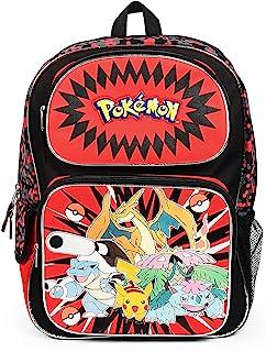 Pokemon and Friends 16 英寸背包书包,红色