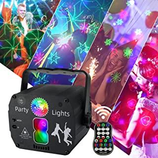 AMKI 派对灯 DJ Disco 派对灯 声音激活遥控器 RGB LED 投影仪舞台灯 带时间功能 室内灯光秀 圣诞俱乐部 KTV 酒吧万圣节装饰