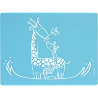 modern-twist 婴儿餐垫硅胶餐垫,长颈鹿餐垫,蓝色