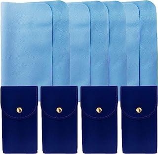 4 件装深蓝色天鹅绒手表袋,带插入和 4 件超细纤维麂皮布
