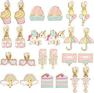 PinkSheep 夹式耳环,适合小女孩,独角兽耳环冰淇淋耳环儿童蛋糕耳环,12 双,*佳礼物