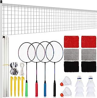 羽毛球拍套装 4 件羽毛球拍 8 个羽毛球网 3 对腕带羽毛球羽毛球球球拍 适用于大多数球员户外运动的全套套装
