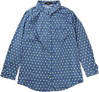 Agnes Orinda 女士牛仔衬衫加大尺码长袖胸袋系扣角布衬衫