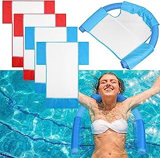 浮动泳池面条网眼椅,吊带网眼泳池椅,适合儿童和成人,面条吊带适合放松水上,泳池面泡沫不包括 4 件)