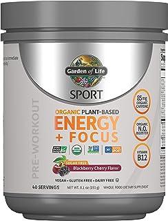 Garden of Life 运动前能量补充剂 焦点素食能量粉末,无糖,黑莓樱桃,8.1盎司(231克)粉末