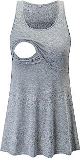 Glampunch 孕妇护理上衣无袖舒适哺乳背心 T 恤孕妇 T 恤, 浅灰色, Small