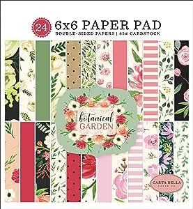 Carta Bella Paper Company CBBO98023 植物花园 6x6 垫纸,粉色,*,黑色,红色,奶油色