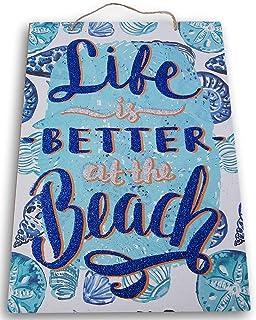 """""""Life is Better at the Beach"""" 闪光夏季欢迎悬挂标志 - 9.5 x 13.5 英寸"""