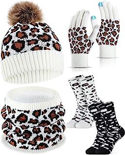 8 件冬季手套围巾袜子帽子带绒球中性款保暖豹纹针织套装