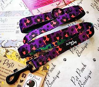 Pet Pooch Boutique 紫色和粉色豹纹牵引绳,均码,0.75 磅