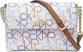 Calvin Klein Hayden 翻盖斜挎包,白色多标志