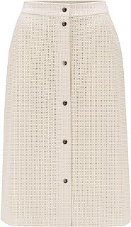 BOSS 女士 C Vefy A 字裙,采用穿孔人造皮革制成,带按扣。