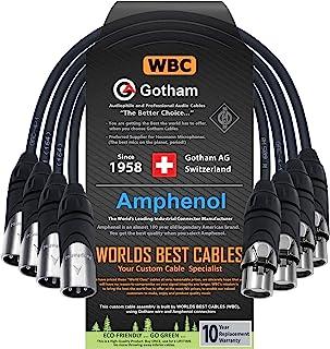 4 块 - 0.5 英尺 - Gotham GAC-4/1(黑色)- Star Quad,双屏蔽公对母麦克风电缆,带Amphenol Silver XLR 连接器 - 由世界一流的电缆定制。