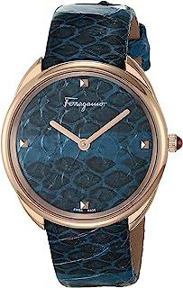Ferragamo 不锈钢模拟石英手表,精致银色表带,透明色,3(型号:7630030550409)