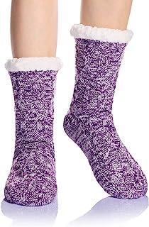 女式冬季袜针织防滑吸汗保暖可爱卡通动物毛绒家居拖鞋袜, 紫色 -2, 均码