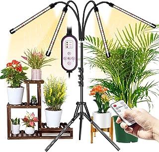 Wolezek * 4 头 LED 地板生长灯,带双控制器,适用于室内植物,80 个 LED 白色红色全光谱生长灯带三脚架支架,4/8/12H 定时器(三脚架可调 11-63 英寸)