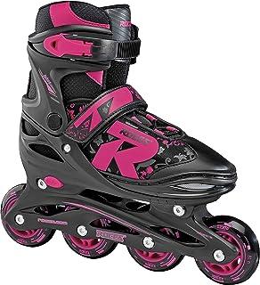 Roces 400811 女士款小丑 1.0 可调节内嵌滑冰鞋,美码 5-8,黑色/粉色