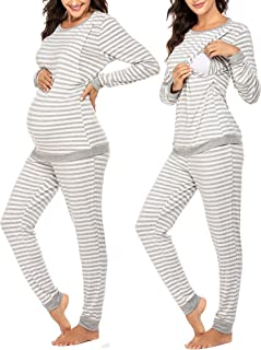 Ekouaer 女式孕妇护理睡衣套装冬季长袖打底上衣和下装(浅灰色 XL)