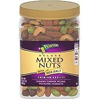 Planters 豪华盐味混合坚果,34盎司(963克),可重复密封的罐装包装  包含用海盐调味的腰果,杏仁,山核桃,开…