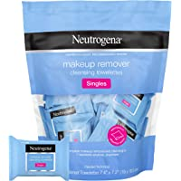 Neutrogena 露得清 卸妆洁面巾,单打,日常用,可去除污垢,油脂,化妆品和防水睫毛膏,温和,无酒精,单独包装,2…