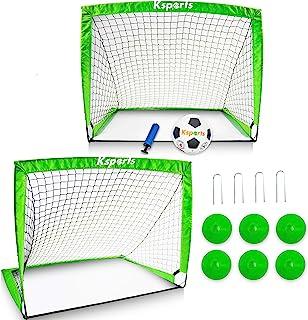 Ksports 足球网套装 4 英尺* – 方便在室内和室外安装 – 包括 2 个弹出式足球网 – 1 个尼龙*足球尺寸 4 带泵 – 6 个足球训练锥 – 1 个便携包绳背包