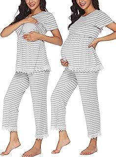 Ekouaer 女式条纹孕妇护理睡衣套装哺乳睡衣睡衣双层短袖上衣和裤子 PJS S-XXL