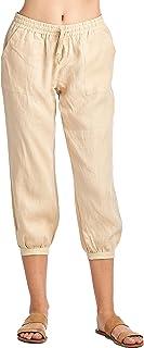 高款式女士休闲 * 亚麻窄腿七分裤带抽绳