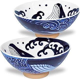 美浓烧 日本饭碗 米拉面面面条 汤 Sarada Pasta 波浪鲸 5.7英寸 17.5盎司(约147克)2套