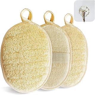 3 件套天然去角质丝瓜海绵身体磨砂淋浴丝瓜海绵男女环保身体去角质膏,采用丝瓜法制成,含棕榈带和粘合挂钩(垫子)