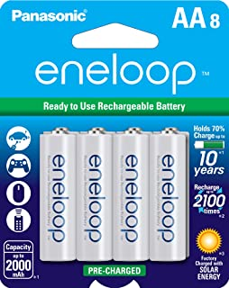 Panasonic 松下电器 BK-3MCCA8BA eneloop AA 2100循环镍氢预充电充电电池,8个