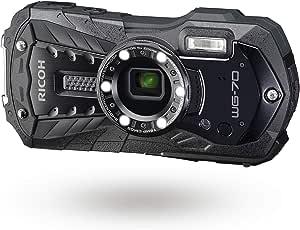 Ricoh 理光 RICOH WG-70 黑色防水数码相机 1600 万像素高分辨率图像防水 14 米防震 1.6 米水下摄影 6 个 LED 环灯数码显微镜模式坚固机身设计。