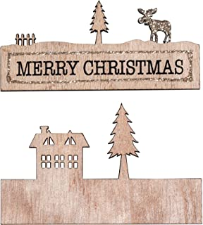 Rayher 46562000 木质装饰 m 字样 Merry Christmas,11x6.7 厘米,2-TLG,SB-Btl 1 件,白色,正常