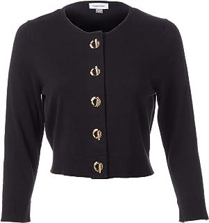 Calvin Klein 四分之三袖前耸肩钮扣女装