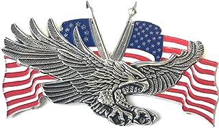 10.80 厘米 X 7.02 厘米 Eagle USA 金属*章哈雷运动员 Sissy Bar 靠背 戴维森 Bobber Chopper 徽标贴纸 3M 贴花贴纸 摩托车青灰色铬红色白色蓝色旗帜美国!