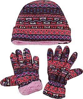 N'Ice Caps 大女孩 7-10 岁 Fair Isle 印花羊毛帽和手套套装