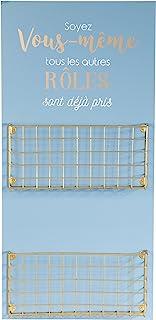 THE HOME DECO FACTORY Door Mail,木材和金属,蓝色,24 x 6.4 x 50 cm