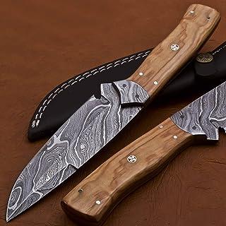 Sharp Forest Knives 大马士革钢全唐剥皮刀,SK-2008,手工制作,10英寸(约25.4厘米)-漂亮的橄榄木手柄