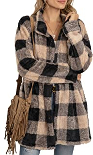 女式格子仿羊毛大衣保暖翻领外套冬季夏尔巴开襟纽扣夹克