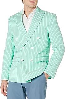 STACY ADAMS 男式条纹亚麻修身运动外套