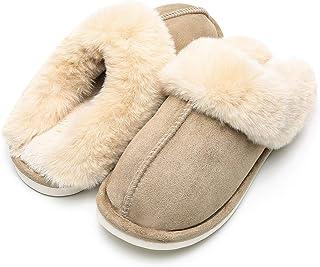 Solyinne 女式冬季保暖拖鞋 室内或室外拖鞋 绒面皮防滑鞋底