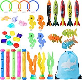 潜水玩具,儿童游泳池潜水玩具,37 件游泳池玩具,儿童泳池玩具:泳池环、潜水棒、鲨鱼鱼雷泳池玩具、泳池宝石礼物男孩和女孩