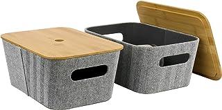 LA JOLIE MUSE 中世纪现代浅灰色粗花呢面料储物篮 2 件套适用于立方体搁板衣柜书柜抽屉柜,多功能收纳盒带竹盖