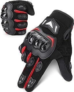 kemimoto 摩托车手套,男士女士,夏季摩托车骑行手套,触摸屏透气摩托车手套,适用于摩托车越野赛车 BMX 山地自行车,带硬指节
