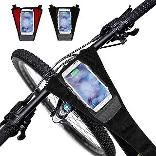 Intsun 自行车防汗保护器,2 件自行车防汗护罩,适用于公路自行车运动训练员吸汗带网,带触摸屏手机袋,低于 6.0 英寸(约 15.2 厘米)手机,用于骑行训练(黑色、黑色和红色)