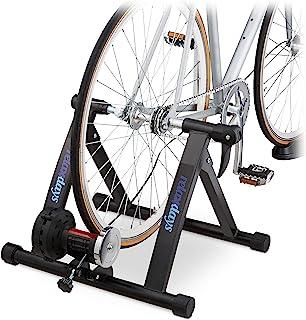 Relaxdays 自行车滚轮训练器 适用于26 – 28 英寸轮胎 承重达 150 千克 可折叠 室内磁性制动 黑色