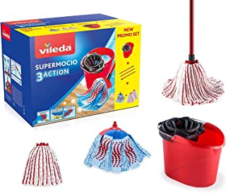 Vileda SuperMocio 盒,带蝴蝶结 3Action XL 和两个超细纤维蝴蝶结和力量,塑料/超细纤维,红色