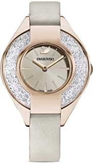 Swarovski 施华洛世奇 女式 Crystalline 运动瑞士石英手表皮革表带,灰色,12(型号:5547976)