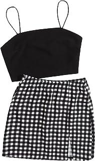 SheIn 女式吊带纯色 T 恤露脐上衣和网格开叉下摆迷你裙套装